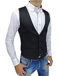 Panciotto Gilet uomo slim fit Style nero casual elegante Smanicato Corpetto  super aderente 34c99afd553