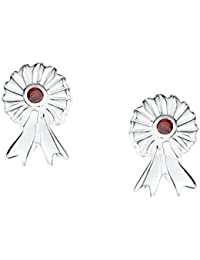 Jo for Girls Sterling Silver and Red Cubic Zirconia Rosette Stud Earrings