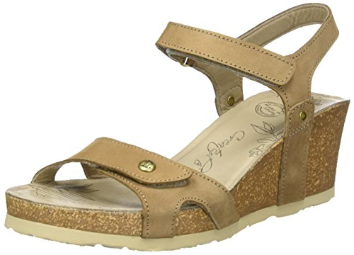 Panama Jack Damen Julia Basics Offene Sandalen mit Keilabsatz, Braun (Taupe), 38 EU