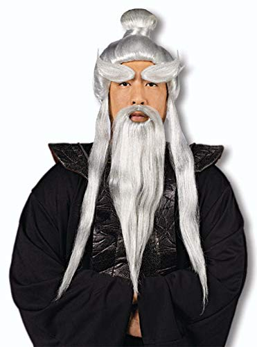 Sensei Kostüm Meister - Horror-Shop Sensei Perücke mit Bart für Dein Samuraj Kostüm