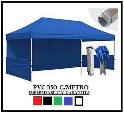 Ray bot gazebo pieghevole blu alluminio esagonale 40mm 3x6 + 4 teli laterali pvc 350 g metro
