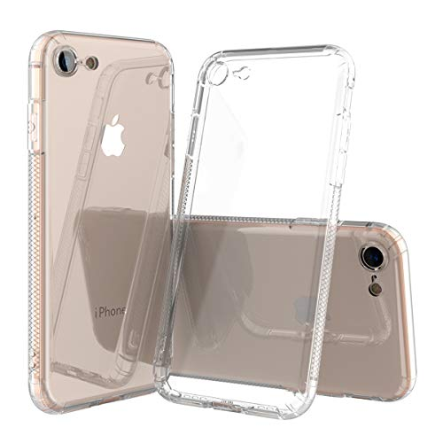 Crystal Clear iPhone 7/8 Bumper Hülle, Frauen und Mädchen Gel-Hybrid-Schutzhülle mit weichem, transparentem Design [Slim Thin] Cover Wireless Charging Compatible for Jet or Matte Black Phone