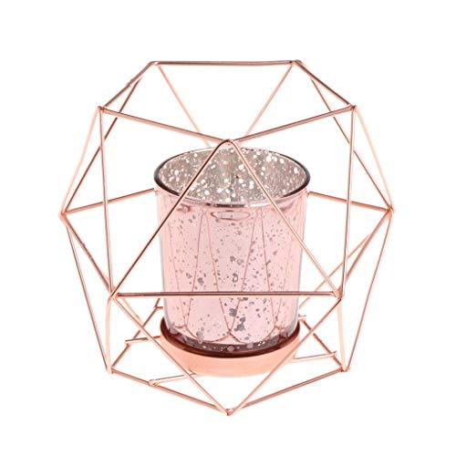 Wanfor 3D Geometrischer Kerzenhalter aus Metall für Hochzeit, Heimdekoration, 3 Farben, Eisen, Rose Gold, Einheitsgröße