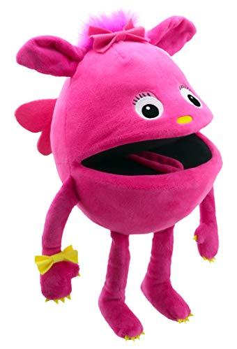 Lashuma Plüsch - Handpuppe Baby Monster Pink | Kuscheltier Handspielpuppe ca. 32 cm