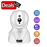 Drahtlose Überwachungskamera mit Zweiwegaudio - SMONET 1080P HD WiFi Sicherheitsüberwachung IP Kamera Home Babyphone mit Bewegungserkennung Nachtsicht (White)