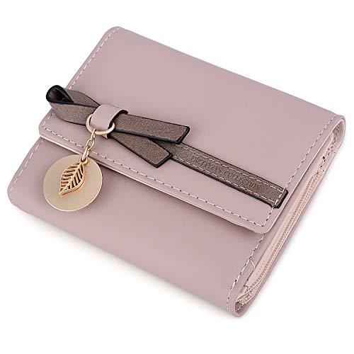 ine Brieftasche UTO PU Leder Blatt Bowknot Kartenhalter Organizer Mädchen Reißverschluss Rosa ()