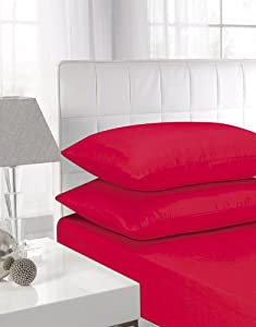 Affinity Soft Touch Pillowcase Pair Red by Textiles Direct