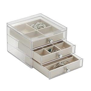 mDesign Portagioie con 3 cassetti – La perfetta scatola porta gioielli con 17 scomparti – Per orecchini, anelli, spille, ecc. – Anche come portaorologi – In plastica rigida – trasparente