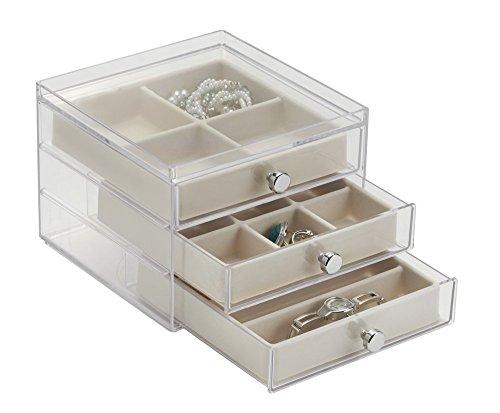 mDesign Schmuckkasten mit Schubladen - ideale Aufbewahrung von Ohrringen, Ringen, Broschen etc. - Schmuckaufbewahrung mit Aufbewahrungsbox - Farbe: durchsichtig/elfenbeinfarben