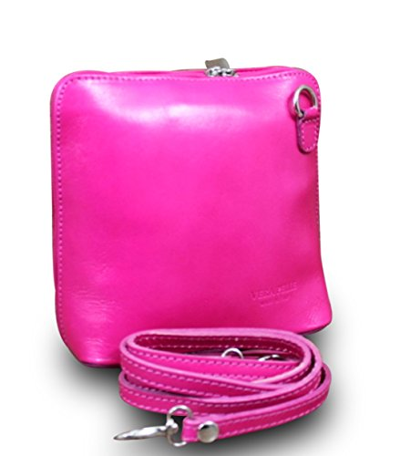 Made in italy sac à main clutch cross body bag cuir rose