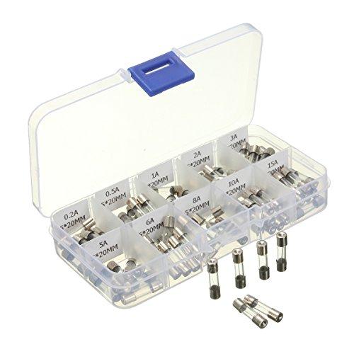 AUDEW Kit de 100pc Fusible verre tube électrique cartouche 10 modèle 5X20mm
