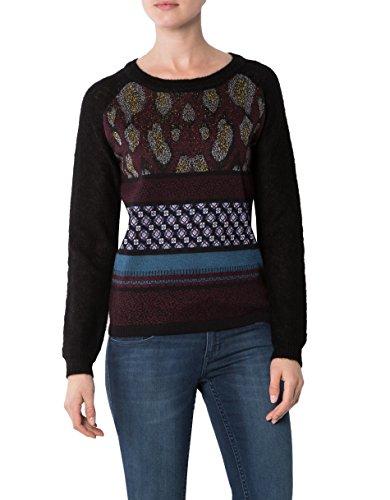 KOOKAI Damen Pullover Baumwollmix Sweater Gemustert, Größe: T2, Farbe: Schwarz