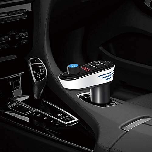 Allshopstock (#67) Auto Bluetooth V4.2 MP3 Spieler Fm Sender 5V 3.1A Output Dual USB Ports Auto Charger With LED Licht, Einbau-Kühlschrank Mic (Silber)