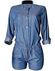 SaiDeng Monos Largos Vaqueros Con Pantalones Jeans Shorts Jumpsuit Para Moda De Mujer Azul Marino 44