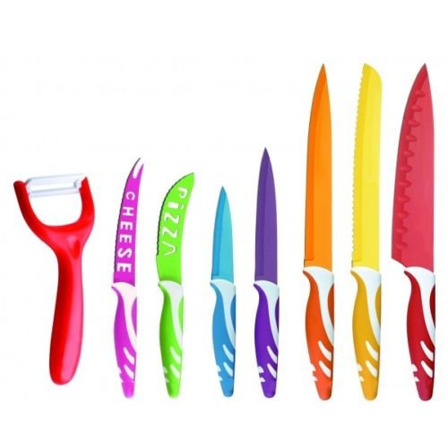Set de 7 cuchillos con revestimiento de cerámica en color con pelador de verdura