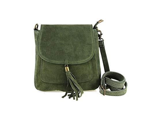 Made in Italy Damen Leder Tasche Messenger Bag Henkeltasche Wildleder Handtasche Umhängetasche Ledertasche Schultertasche Beuteltasche Fransen Cross-Over Grün -