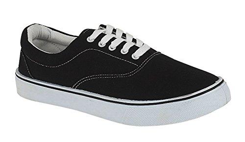 Scarpe da ginnastica unisex, con lacci, espadrillas in tela, scarpe da skateboard stile plimsoll, Nero (Black), 46 EU