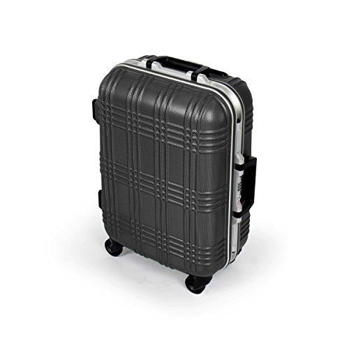 MasterGear Hartschalen Handgepäck Koffer mit Aluminium Rahmen in schwarz | Größe S: (53 x 39 x 20 cm) | Trolley mit 4 Rollen | Reisekoffer, ABS, TSA,  für zahlreiche Fluggesellschaften geeignet