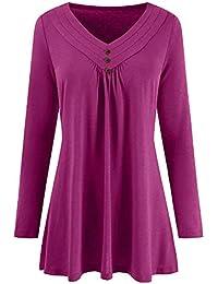 SEWORLD 2018 Damen Mode Sommer Herbst Beiläufige Schal Übergröße Solide V-Ausschnitt Langarm Plissee T-Shirt Tops Bluse