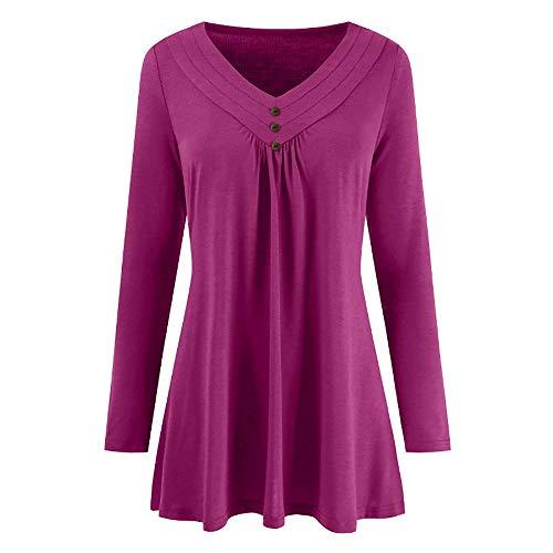 OSYARD Damen Knopf V-Ausschnitt Kleider, Frauen Herbst Solid Langarm Lose Knopf V-Ausschnitt Bluse Shirts Tops (4XL, Rosa)