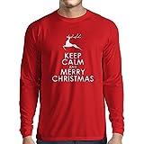 T-Shirt Manches Longues Homme idée cadeau Noël cadeau de Noël (Small Rouge Blanc)