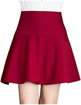 Falda Mujer Chicas Delgado Minifalda Moda Elástica Corto Vestidos Falda Color del Caramelo