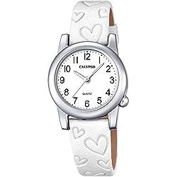 Calypso Children's Watch Elegant Analogue Leather Strap Watch White Dial Quartz Watch White Black UK5709/1