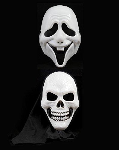 Girm® - s7217 maschera teschio o maschera parodia di scream per halloween. accessorio per travestimento alieno pauroso glow per halloween . scherzo pauroso da fare ai tuoi amici adatto a tutte le taglie sia per grandi che per bambini. maschera horror parodia di scream come quella del film ideale per la festa di carnevale o party horror . travestiti da teschio o da scream, sarà divertente spaventare i tuoi amici.