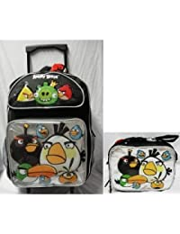 Angry Birds Large 16 Rolling School Backpack with Lunch Box - Silver Pocket by AI