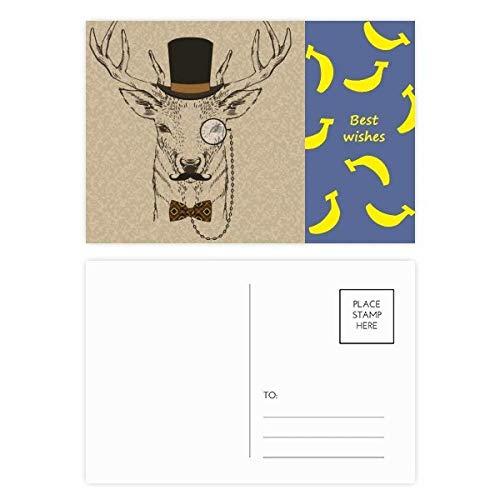 Britischer Stil Gentle Bart-Hut Fliege Tier Banana Postkarten Set Dankeskarte Postkarte Seite Postkarte Karte Postkarte Karte Postkarte 20 Stück
