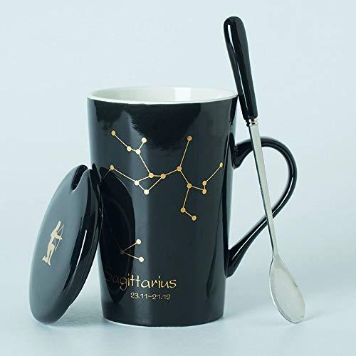 BOOMZZ Bone China 12 Constellation Pattern Keramiktasse Mit Deckel Löffel Paar Tasse 450Ml 12.5 cm * 8.5 cm Schwarz J