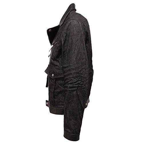 9831Q giubbotto uomo DSQUARED2 D2 chiodo jeans pelle jacket men Nero