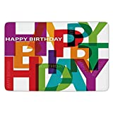 XIAOYI Bathroom Bath Rug Kitchen Floor Mat Carpet,Birthday Decorations,Vibrant Letters Scattered Broken Text Puzzle Like Display Graphic,Multicolor,Flannel Microfiber Non-Slip Soft Absorbent