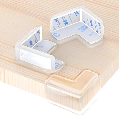 Wemk Protection Coin de Table, 12 Pièces Protections d'angles Transparent, Plus Grande Taille et Plus Forte adhérence, Doux