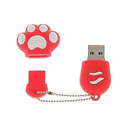 Segolike USB 2.0 Cat Paw Model Flash Memory Stick Storage Thumb Pen Drive U Disk - red, 16GB