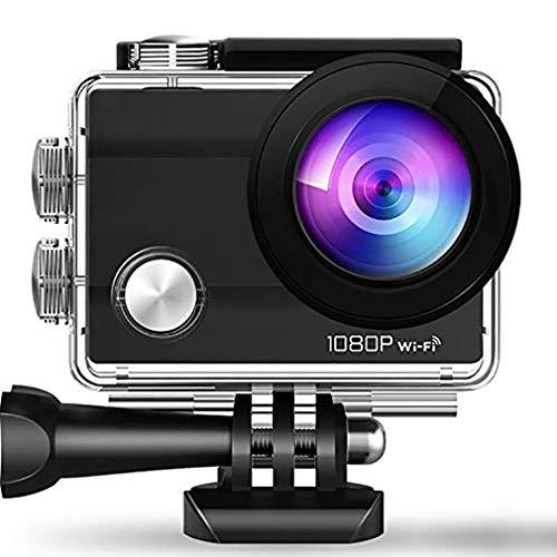 Action Cam 4K WiFi Kamera Unterwasser Kamera 1080p Ultra HD Sport Camera Helmkamera Wasserdicht für Motorrad Fahrrad Reiten mit externem Mikrofon und Montage Zubehör Kit