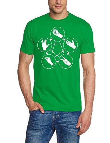 Coole-Fun-T-Shirts Herren Big Bang Theory-Stein Schere Papier Echse Spock T-Shirt, green-weiss, S -