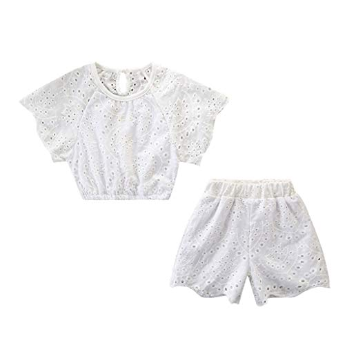 JUTOO 2 Stücke Set Kleinkind Kinder Baby Mädchen Outfits Kleidung Spitze Hohl T-Shirt Tops + Shorts Hosen Set (Weiß,90)