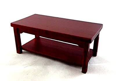 Dolls House Miniature Wooden Living Room Furniture Modern Mahogany Coffee Table - cheap UK light shop.