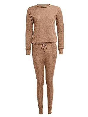 Womens Knitted Tracksuit Lounge Wear Set Sweatshirt Joggers Pocket Pants