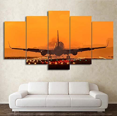Wiwhy (Kein Rahmen) Leinwand Malerei Wandkunst Hd Drucke 5 Stücke Flugzeug Wohnkultur Sonnenuntergang Landschaft Modular Für Wohnzimmer Bilder Kunstwerk Poster