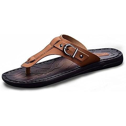 Estate flip-flop/Pantofole di pelle britannico anti-scivolamento pizzico/Piscina esterna spiaggia infradito uomo