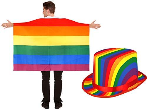 Regenbogen-Flagge Cape mit Topper Hut Gay Pride LGBT Kostüm Set ()