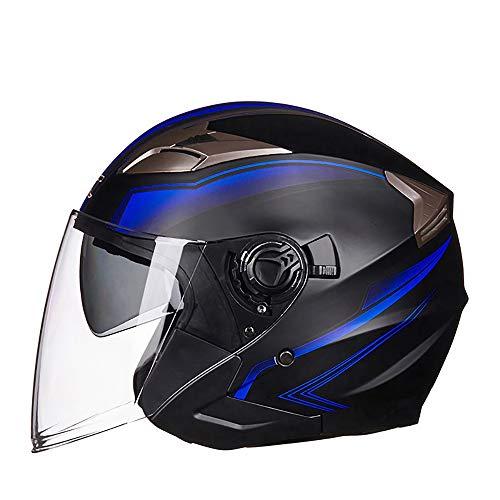 GuoYq Elektrischer Motorradhelm, halbrundbatterie mit doppellinse, halb bedeckt, Retro Zertifizierung, abwaschbarer Innenraum, mit abnehmbarem Bildschirm