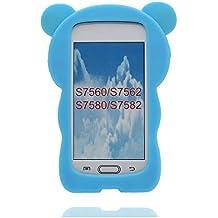 Carcasa Samsung Galaxy Trend Plus GT-S7580 / S7582 / S7562, 3D Cartoon oso Cover Samsung Galaxy S7560 Funda Case, TPU flexible duradero, resistente a los arañazos deslizamiento polvo- Bear original