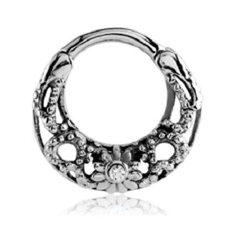 eeddoo Septum-Piercing Clicker Ornament Silber Edelstahl Kristallklar