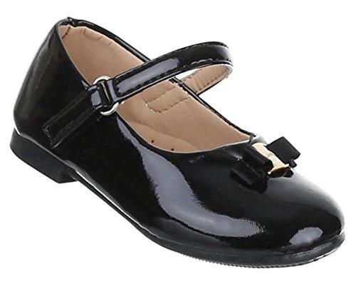 Kinder-Schuhe Ballerinas | elegante Slipper mit Riemchen und Schleife in verschiedenen Farben und Größen | Schuhcity24 | in Lack-Optik Schwarz