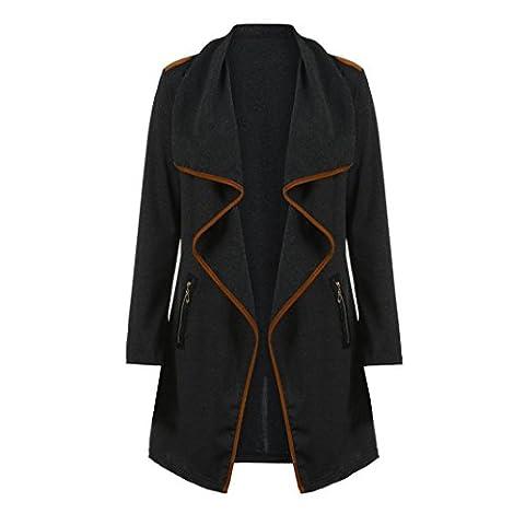 DAYLIN 1PC Womens Knitted Long Sleeve Tops Cardigan Jacket Outwear Plus Size (3XL, Black)