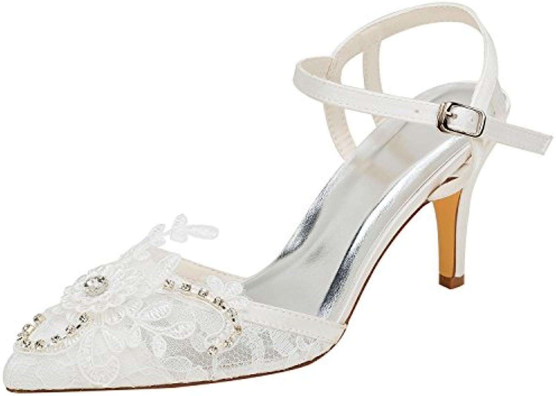 Emily Bridal Zapatos de Novia de Marfil Zapatos de pedrería con Punta de Encaje Zapatos de Tacón Alto Bombas de... -