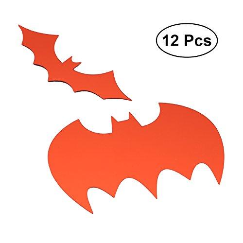 BESTOYARD Wandaufkleber Cartoon Halloween Fledermaus Muster Aufkleber Tapete für Kinderzimmer Kinderzimmer Halloween Party 12ST (rot)